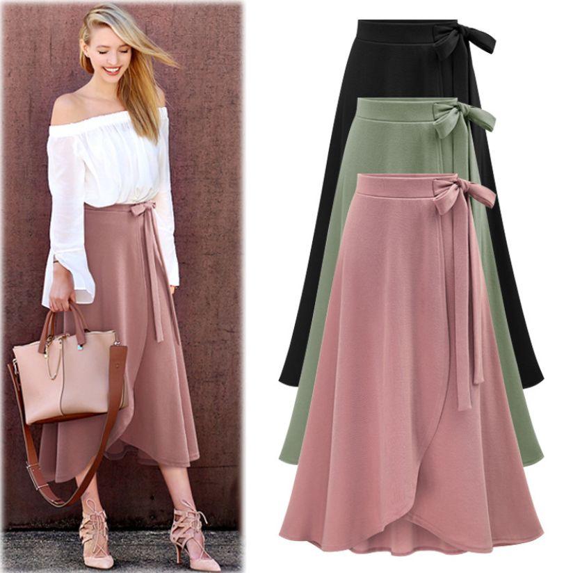 Elegante Damen Hoch-Taille Röcke für Frauen Lange Unregelmäßige Split Large Size Beinlänge Bandage Hem Kleid-beiläufig Ferien Herbst S-6XL