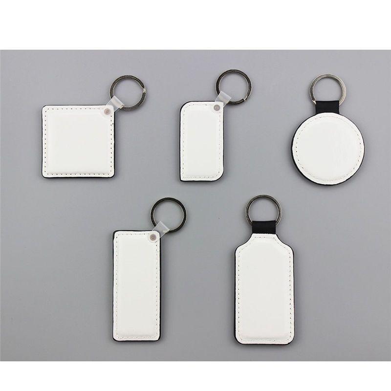 Sublimation leere Leder Runde Rechteck Square Schlüsselanhänger Hot Transfer Printing zwei Seiten können Verbrauchsmaterialien neuen Stilen gedruckt werden