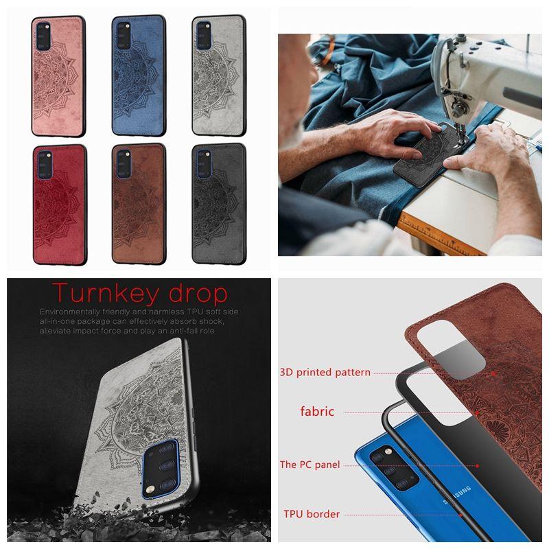 Чехлы для Samsung Galaxy S20 Ultra Plus A51 A71 A81 A91 Datura цветок Жесткий PC + TPU Lace Mandala ткани класса люкс кожи мобильного телефона задней обложки