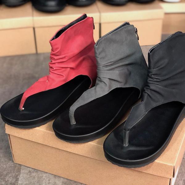 2020 donne high-top infradito Estate piana di modo scava fuori la fibbia Sandali Scarpe ragazza Nero Grigio pantofole economico Big Size 35-43