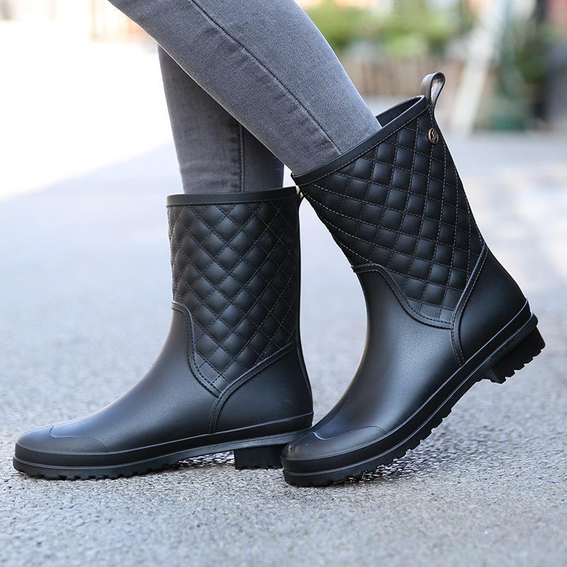 Stivali invernali Design di marca Stivali Stivali da pioggia Stivali da donna Scarpe di moda impermeabili in tinta unita