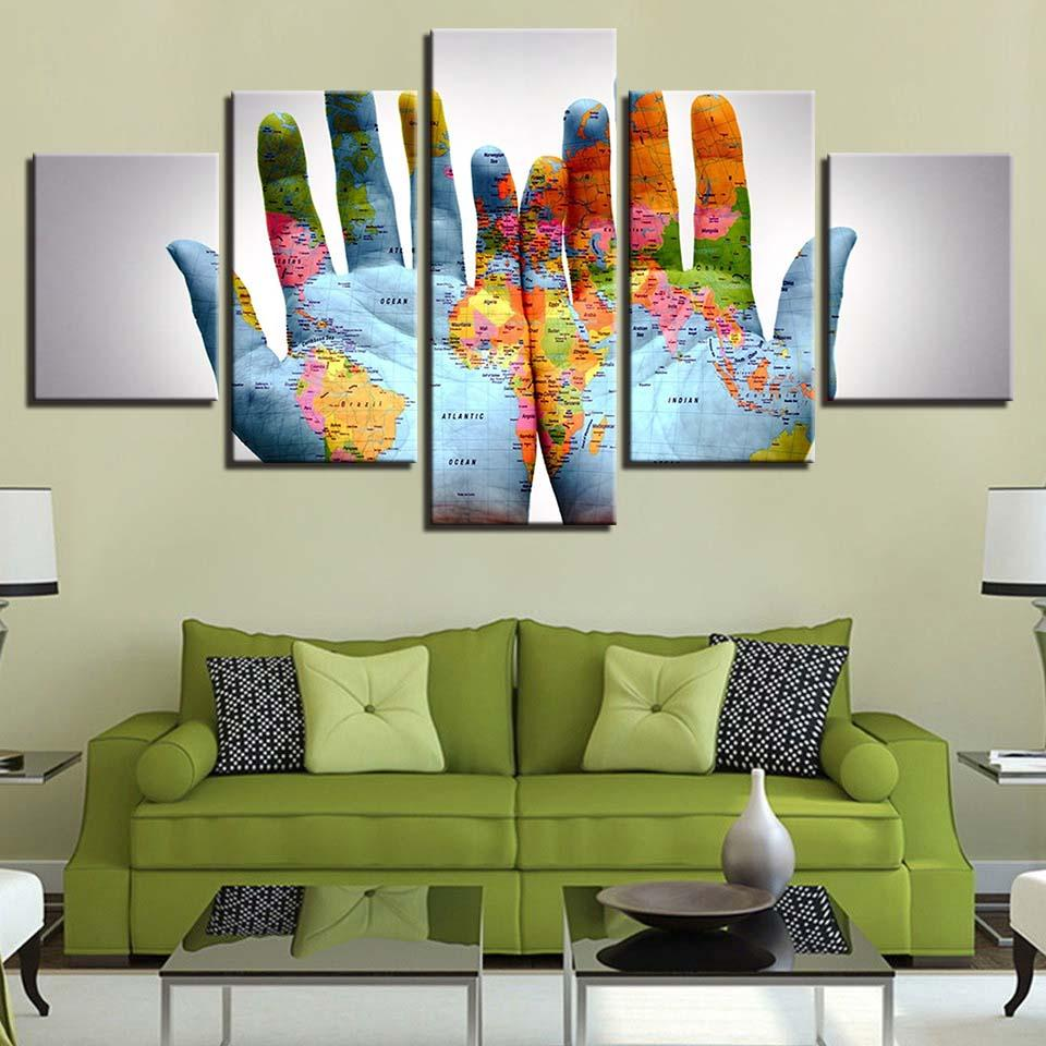 Paintings HD Abstract Canvas Living Room Wall Art Poster 5 Pieces Retro World Map Decoration Pictures Frame 5 Assassins Creed