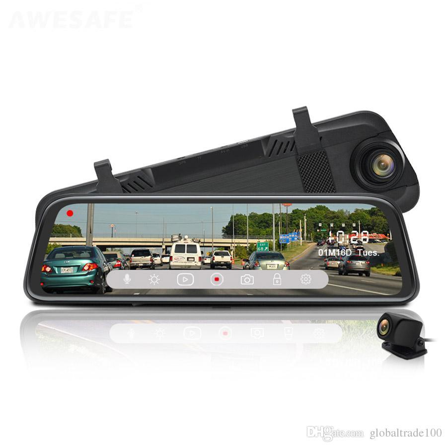 9.66 inch Car DVR Rearview Mirror Touch Screen 1080P Dual Camera Night Vision Video Recorder Auto Registrar Stream Media
