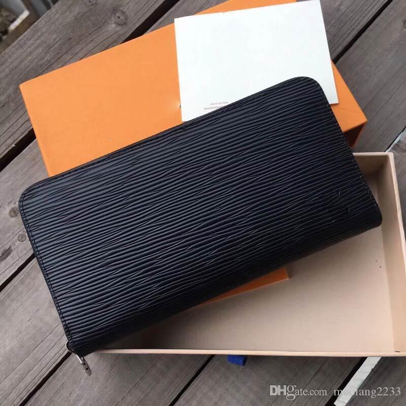 باريس الأزياء الكلاسيكية برازا الرجال محفظة تصميم العلامة التجارية محافظ المرأة حقيبة طويلة انغلق بو الجلود مخلب أكياس مع مربع N60017