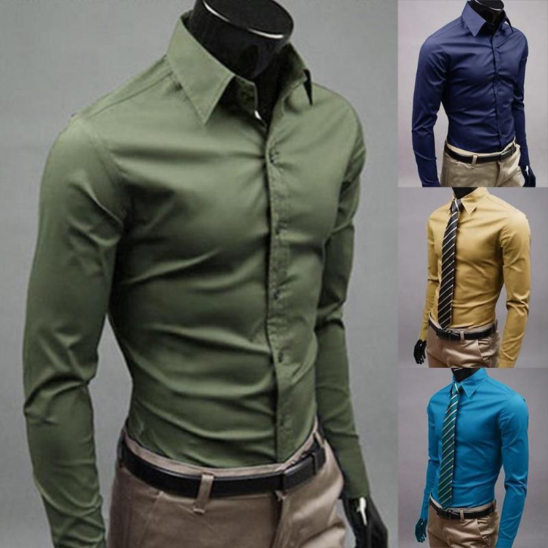 Männer Kleid Shirt New Fashion Men Solid Color Business Long Hülsen-Knopf-Turn-Down-Kragen-Hemd Top Polyester