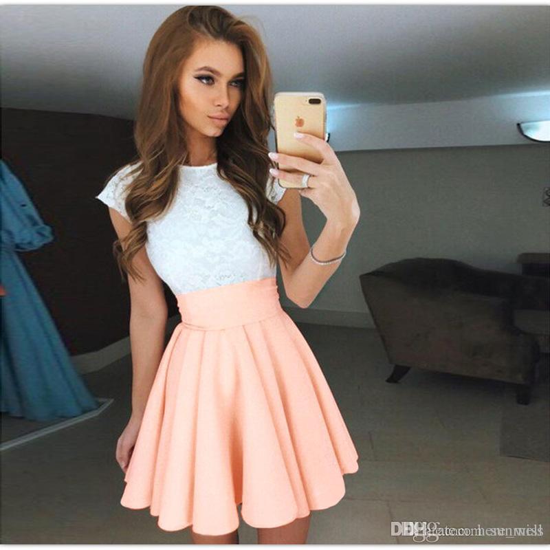 Pizzo Abito da spiaggia donna estate Abito 2018 carino cintura svasata manica corta Abiti Mini A-Line Party Dress Vestidos Plus Size