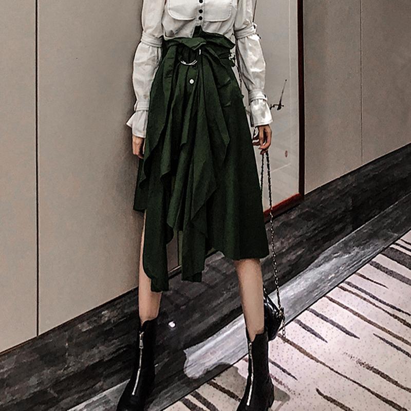 XUXI mezza lunghezza pieghe vita alta Bandage 2019 nuovo pannello esterno delle donne del nuovo autunno irregolare Buckle Strap Streetwear Ropa Mujer FZ0220