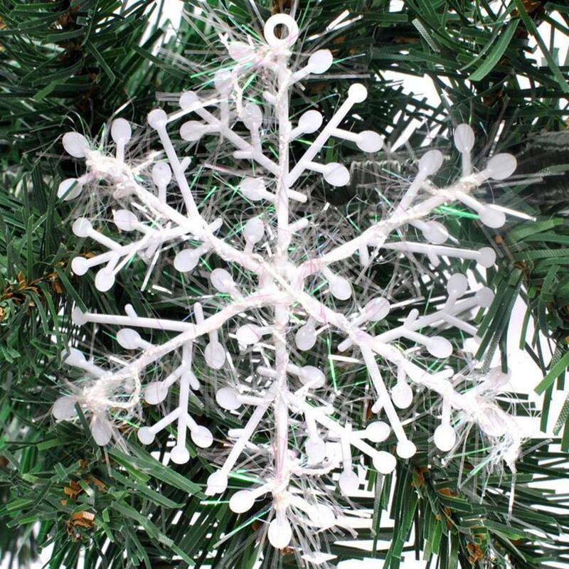 10pcs/lot Christmas White Plastic Frozen Snowflake Christmas Gift Decorations For Home Artificial Snow Christmas Tree Ornament