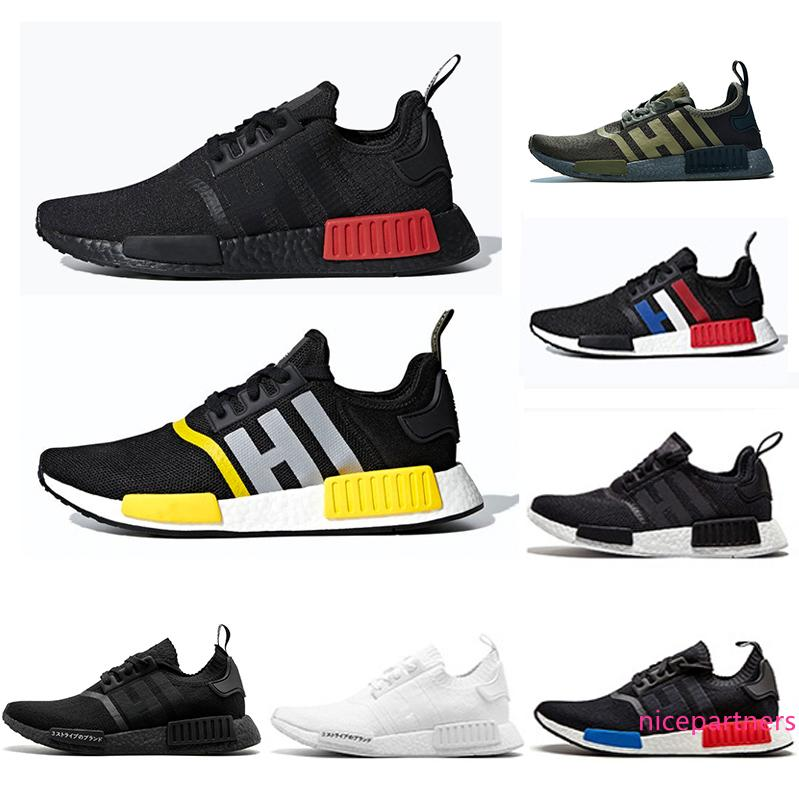 Bred NMD Runner R1 Primeknit Thunder mens Running shoes For Men Women Japan black atmos OREO Military Green red Marble Sports sneakers 36-45