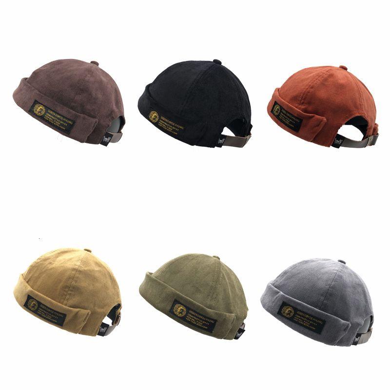 Dôme Vintage Hat Hommes de couleur unie pour les hommes de velours Beanies Docker Sailor rabattement brimless Skull Caps Hip Hop Casual Cap Gorro MX191109