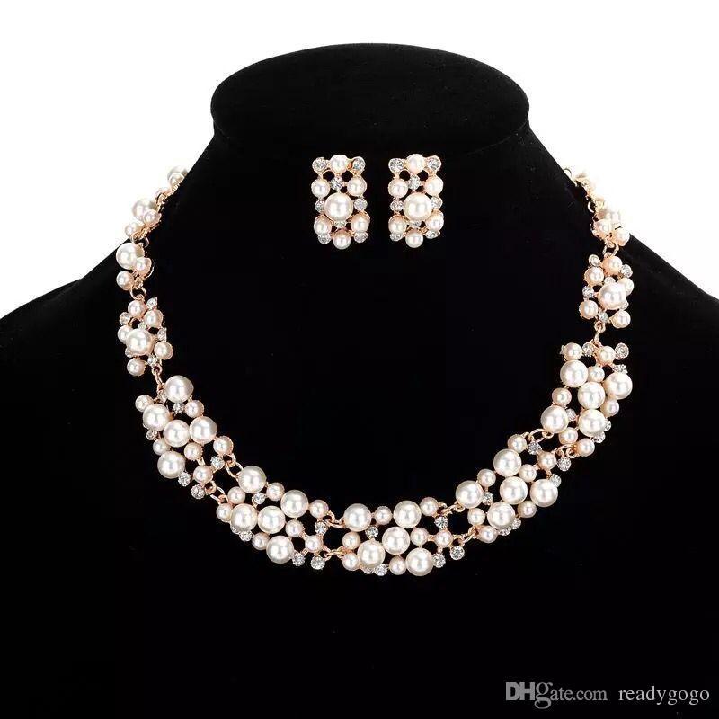 Set gümüş gelin kolye elmas küpe Düğün takı setleri kaplı Gül Kristal Gelin Takı kadınları Gelin Aksesuar Nedimeler