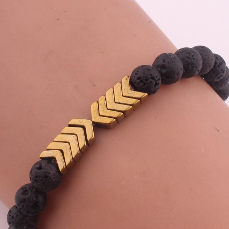 Volcanique Bracelet Pierre pour Huile essentielle Diffuseur Bracelets Bangle de guérison Équilibre Yoga Aimant Flèche Bracelet Perles