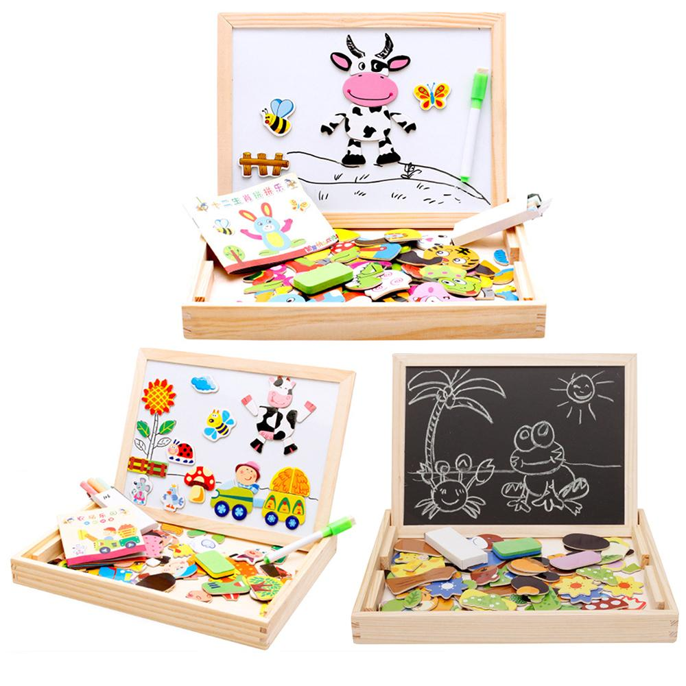 Baby Puzzle Child Educational Toys Multifunctional Magnetic Refrigerator Drawing Board Toy Kids Animal Cartoon 3D Wooden Puzzles Y200414