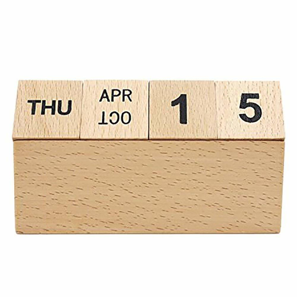 Reusable Wooden Calendar Block Creative Eco-friendly Perpetual Calendar Desk Stand Y19062803