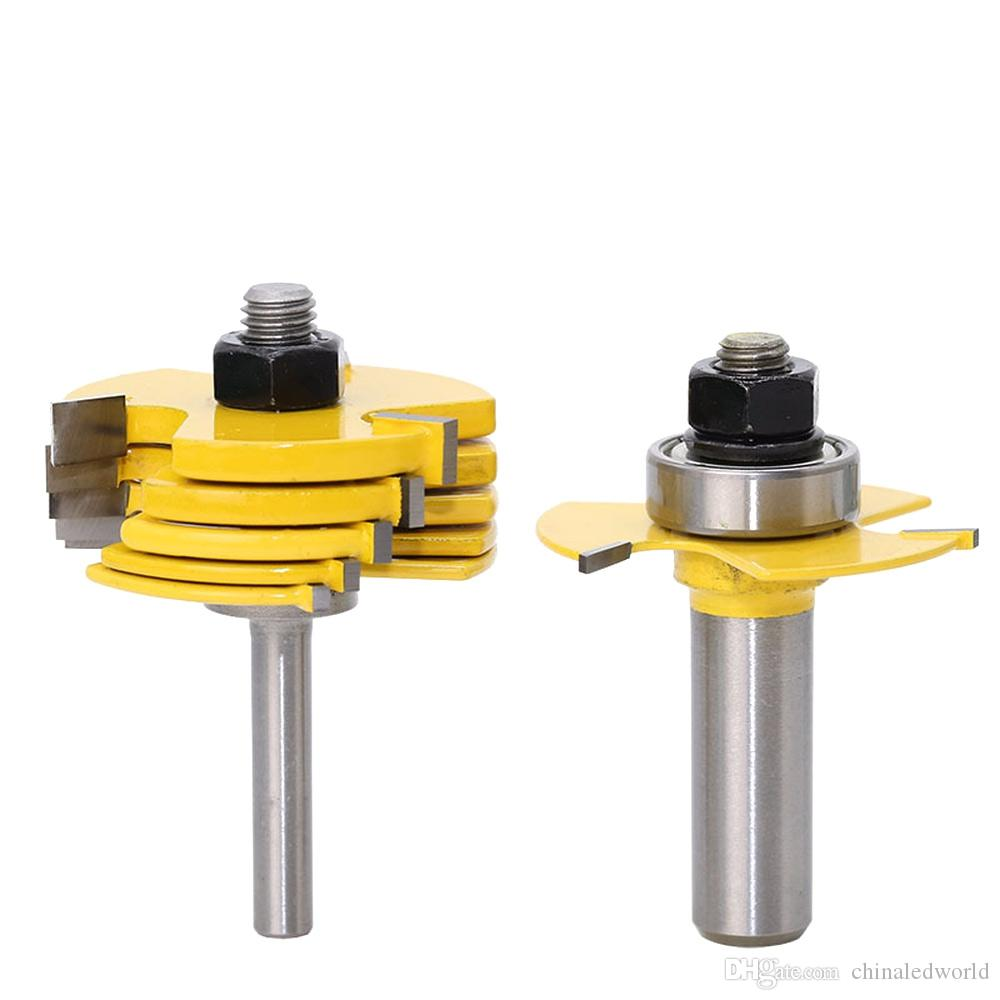 2pcs Adjustable 3 Wing Slot Cutter Router Bit Woodworking Tool