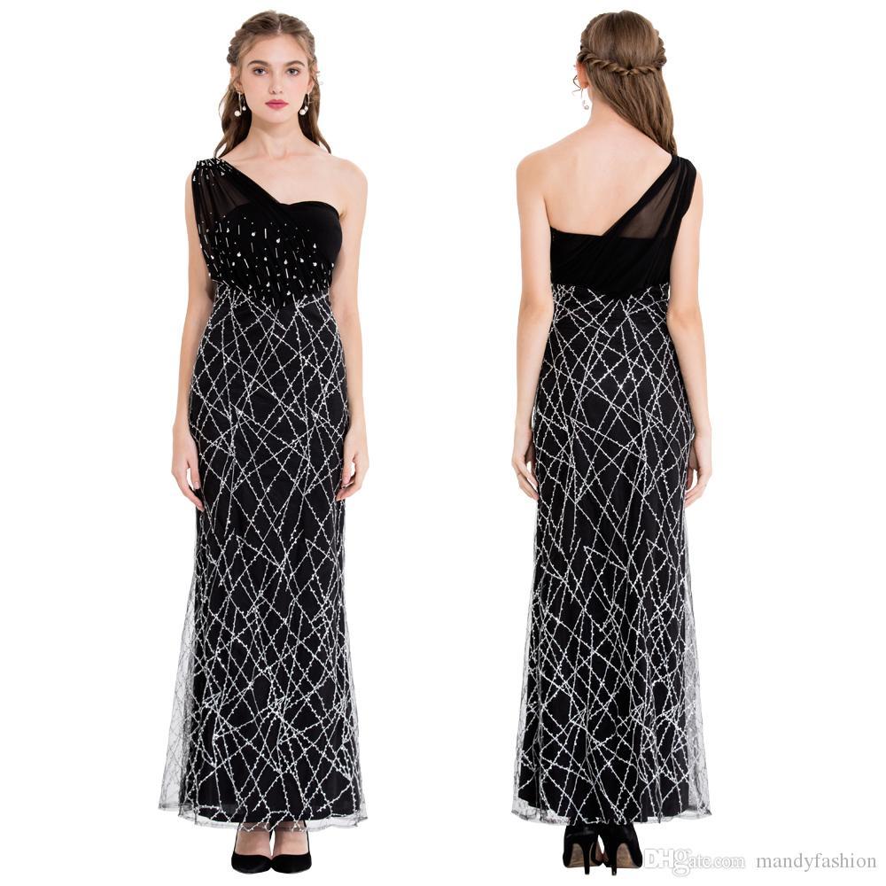 Angel-Fashions Женская Ручка Одно плечо Длинное Длинное Свиновое Вечернее Платья Вечерние Платья Платья Пром Платье Black Royal Blue 391