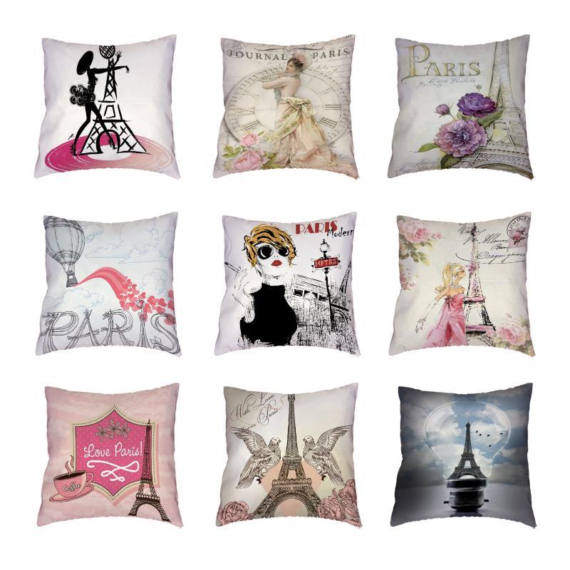 Retro Paris Tour Blanche Throw taies d'oreiller de couleur Fleur Oiseau Horloge Polyester Peach Housse de coussin de peau Imprimé décoratifs pour la maison