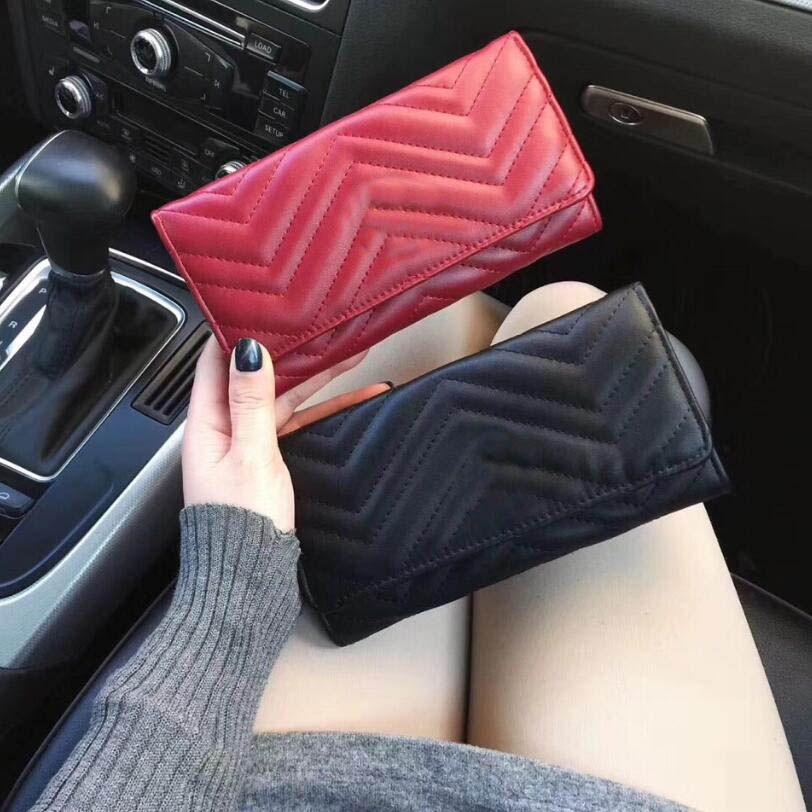 Новый 2019 Женщины Wallet Marmont Известный дизайнер Pu Leather Fashion Single Zipper Дамы Длинный кошелек