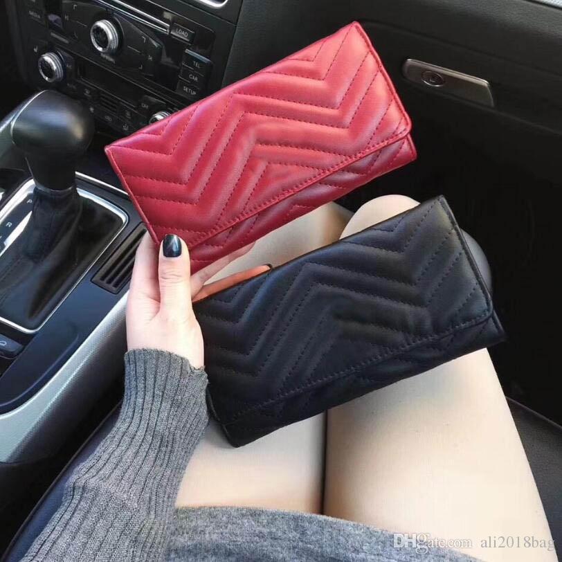 Nouveau 2019 femmes Wallet Marmont célèbre Designer Pu cuir Mode Simple Zipper dames de bourse