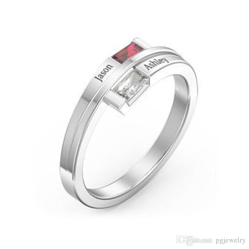 Chegada nova Amor Promessa Anéis Para As Mulheres Personalizado Birthstone Anel Personalizado Gravar Nomes Genuíno 925 Sterling Silver Jewelry Gift