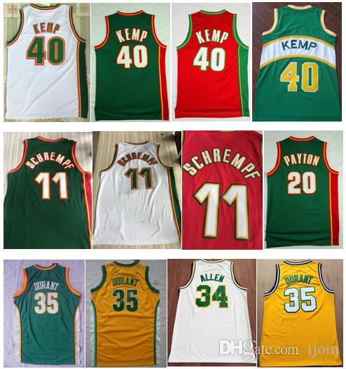 Mens Vintage 11 Detlef Schrempf Green White Red 20 Перчатка Gary Payton 40 царствование Человек Шон Kemp 34 Ray Allen Kevin 35 Durate Рубашка сшитая