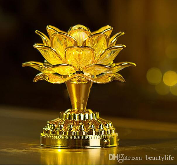 Gold table lamp Work Buddha Music Speaker Light Flower Fancy Colorful Changing LED Lotus Flower Romantic Wedding Decoration Party Lamp