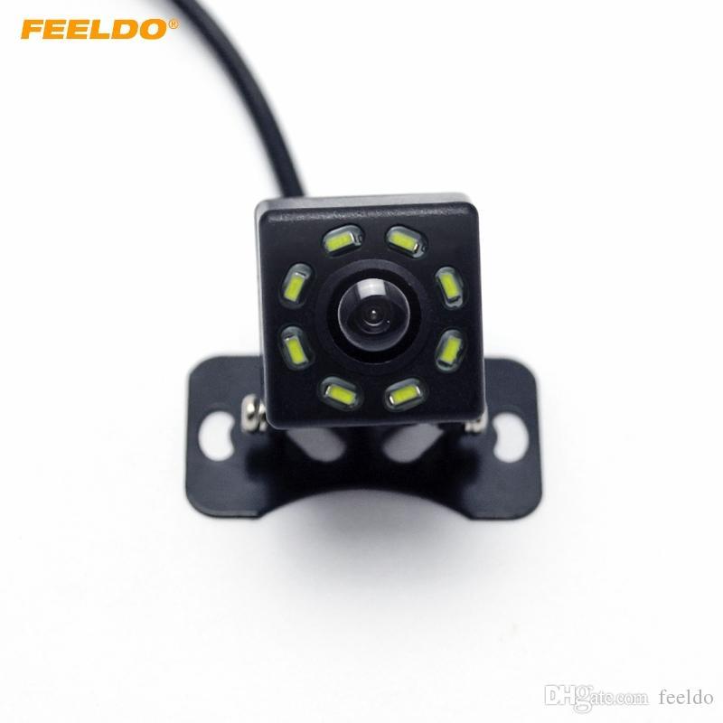 FEELDO DC12V Universal Car Câmara de visão traseira com 8-LED Light Auto Invertendo backup Camera # 5121
