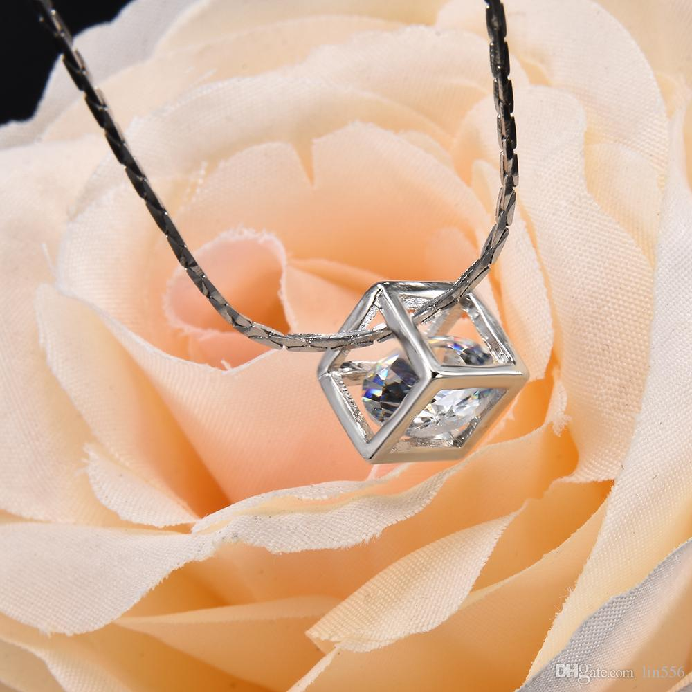 2020 New Fashion Magic Cube & Cone Dazzling Crystal Pendant Necklace for Women Charm Fine Jewelry Necklace