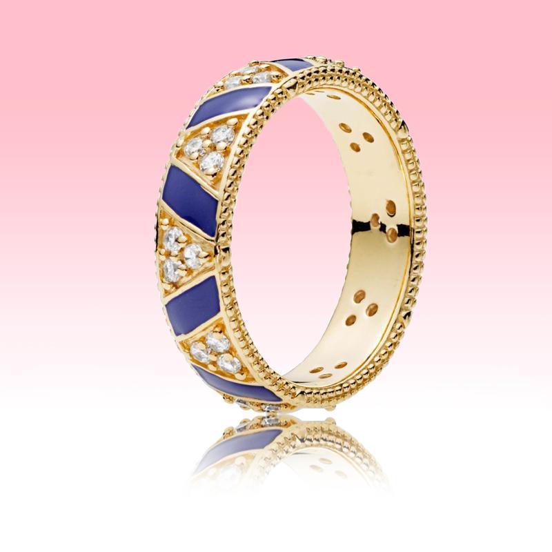 Nouveau anneau plaqué or jaune femme femme bijoux de mode pour Pandora Real 925 Silver Bleu Bague et sonnerie Set avec boîte d'origine