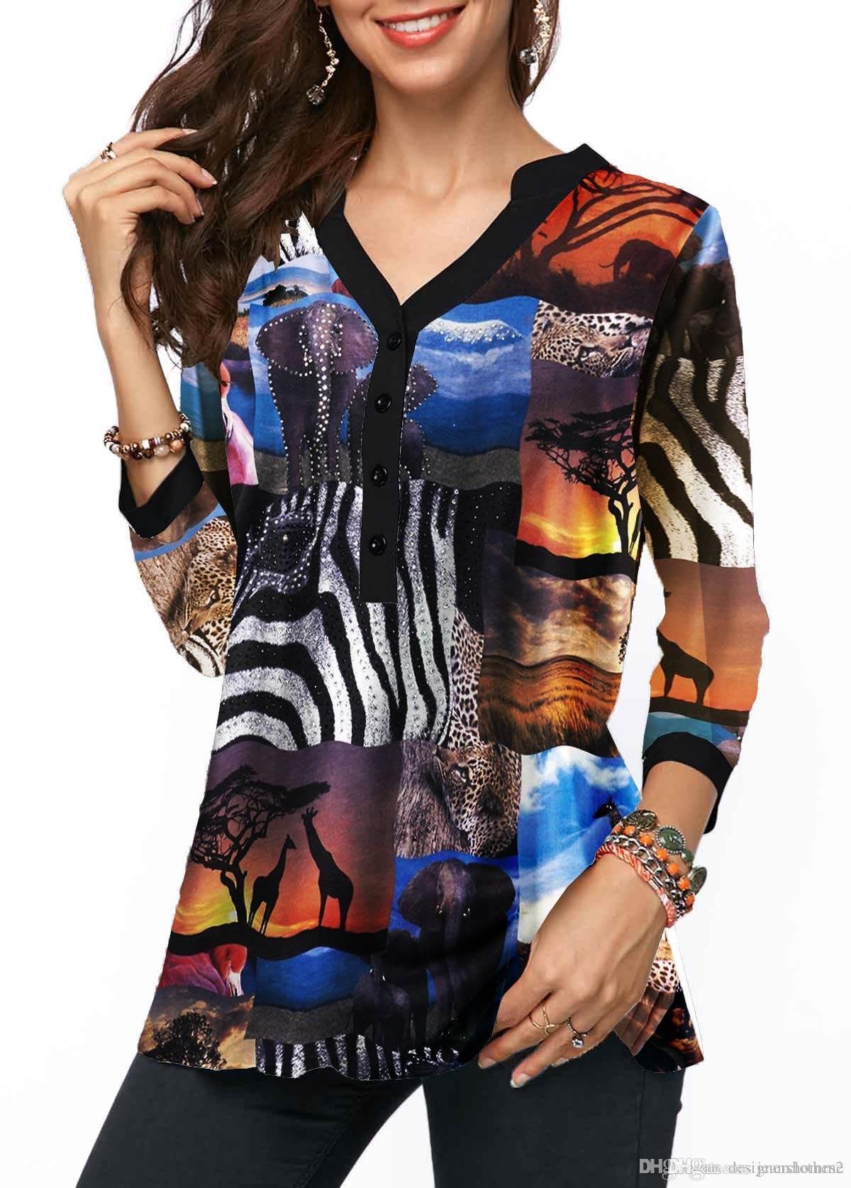 Primavera Womens V-Neck Blusas soltas animal Impresso Mulheres Shirts Female Fashion Roupa Nova Chegada