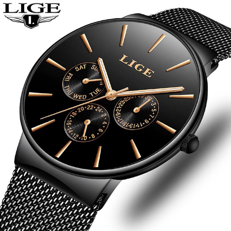 Мужские часы Lige Top Brand Luxury Водонепроницаемый Ultra Thin Дата Часы Мужской сталь Ремешок Повседневный кварцевые Мужчины Спортивные наручные часы C19010301