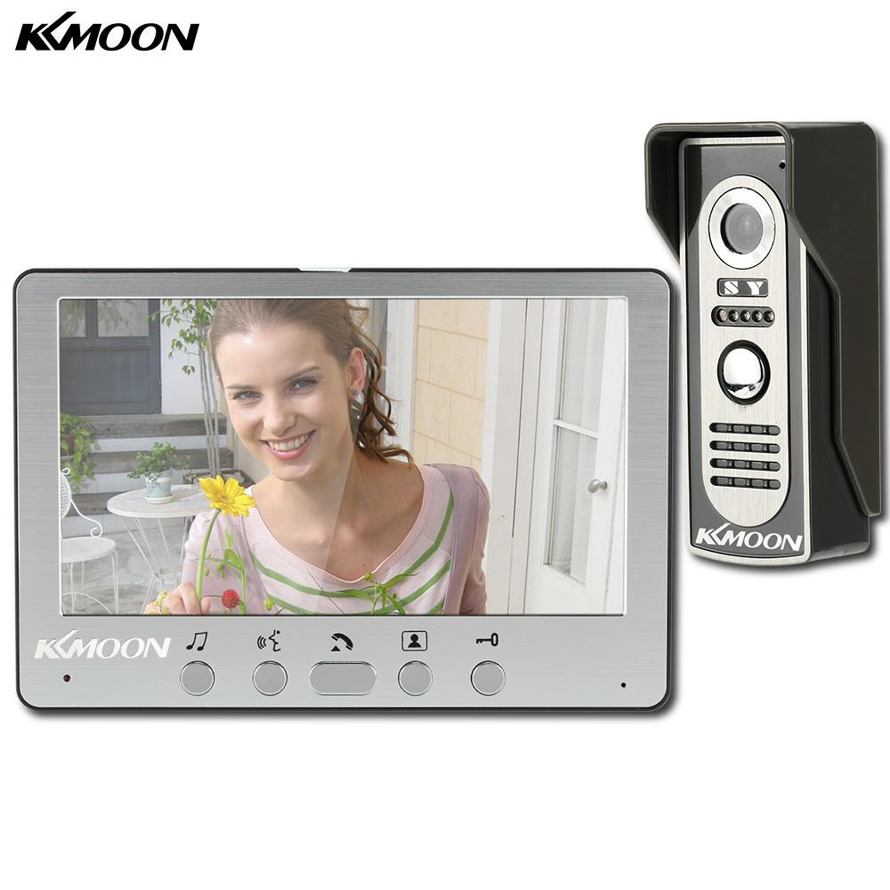 ideo Intercom KKMOON 7'' LCD Screen Wired Video Door Phone System Visual Intercom Doorbell Indoor Monitor 700TVL Outdoor IR Camera Night ...