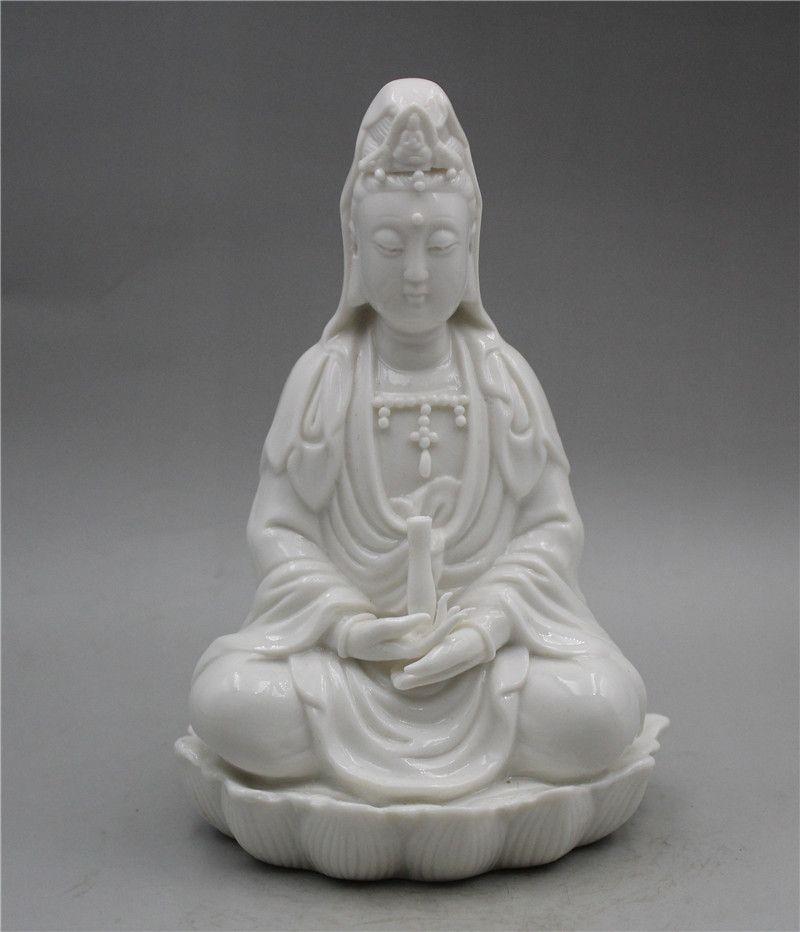 Handwork chinois Invente porcelaine exquise Dehua émail blanc Guanyin statue A001A