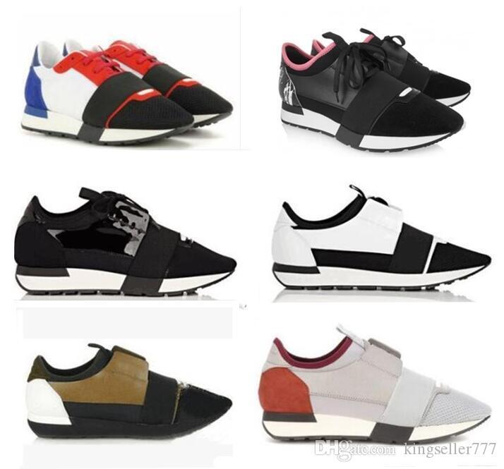 Moda Marka Tasarımcısı Sneaker Erkek Kadın Rahat Ayakkabılar Hakiki Deri Örgü Sivri Yarış Runner Ayakkabı Açık Havada Eğitmenler