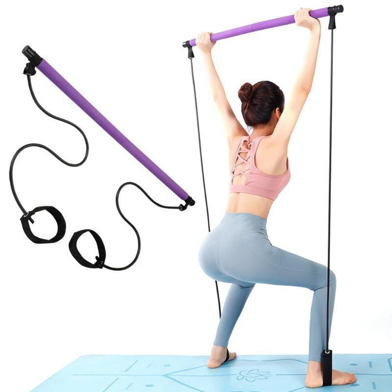 Tire el yoga Varillas portátil de yoga en casa Bandas Gimnasio cuerpo de resistencia abdominal para ejercicio de Pilates Bar palillo de la aptitud de la cuerda del tirador