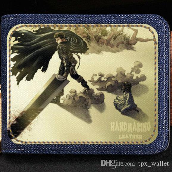 Guts wallet Cool berserk Millepensee purse Gemba comic short cash note case Money notecase Leather jean burse bag Card holders