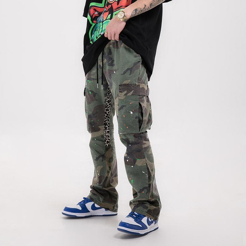 Hip-hop apenado de camuflaje Splash acampanados pantalones hombres y mujeres pantalones de los bolsillos de lazo flojo de Carga Streetwear holgados pantalones