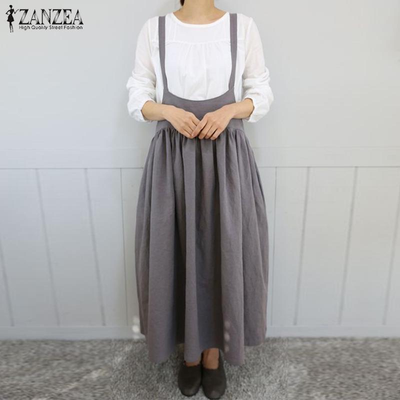 2020 Zanzea Women Strapppy Solid Long Dress Summer Sweapers Understanded Cotton Linen Overalls Dress Sarafans Rop T200416