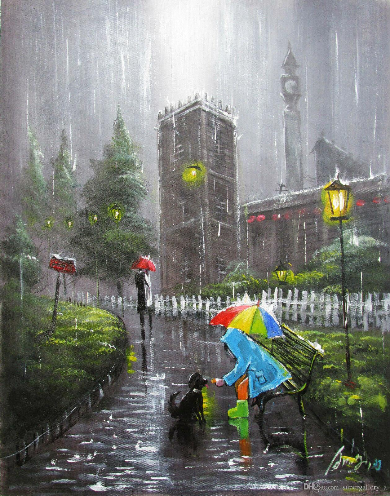 100%Hand-painted Art Oil Painting Landscape kid Cityscape Art Oil Painting On Canvas Wall Home Decor Wall Art Picture