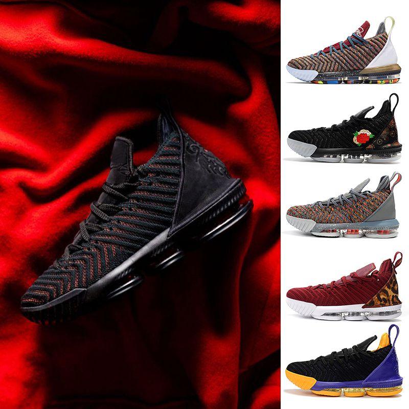 LeBron James 16 Fresh Bred 2019 Nueva llegada XVI 16 zapatillas de baloncesto 1 a 5 hombres Athletic 16s lobo gris zapatos deportivos Tamaño 7-12