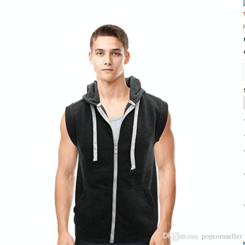 T-Shirt mit Kapuze Weste ärmellos Leicht Zpper T-Shirt der Männer Gymnastik-Training Weste Lässige Kleidung Mens Fashion Designer