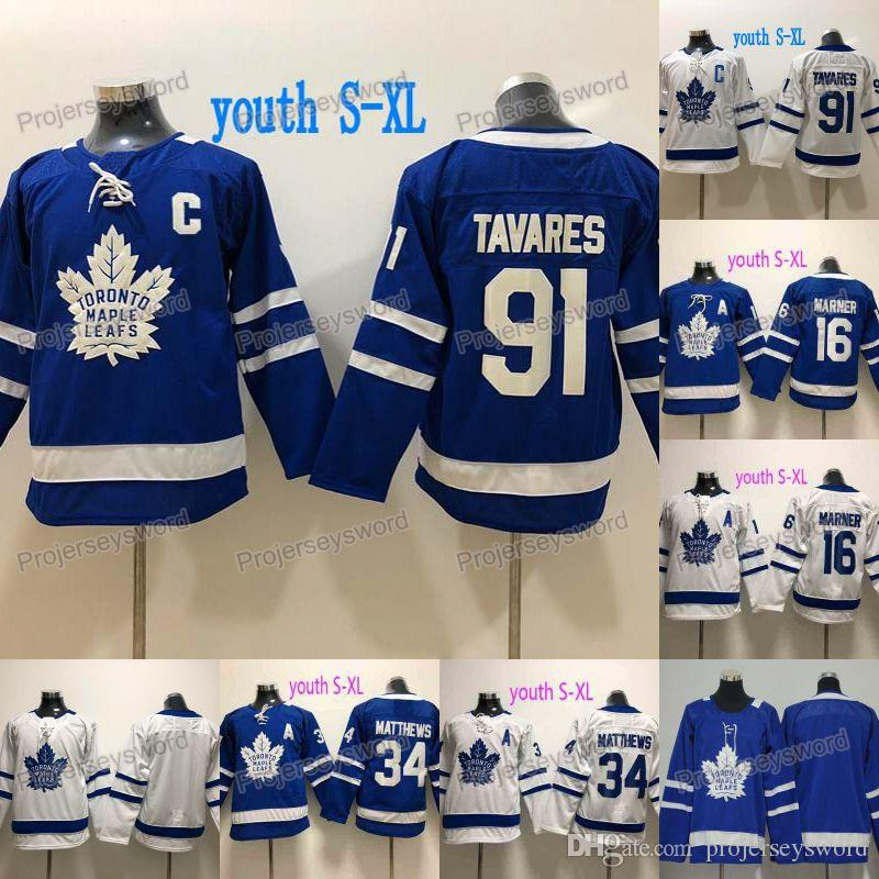 Jugend 91 John Tavares Jersey Kapitän C Patch Toronto Ahornblätter 16 Mitchell Marner 31 Frederik Andersen 34 Auston Matthews Hockey Trikots