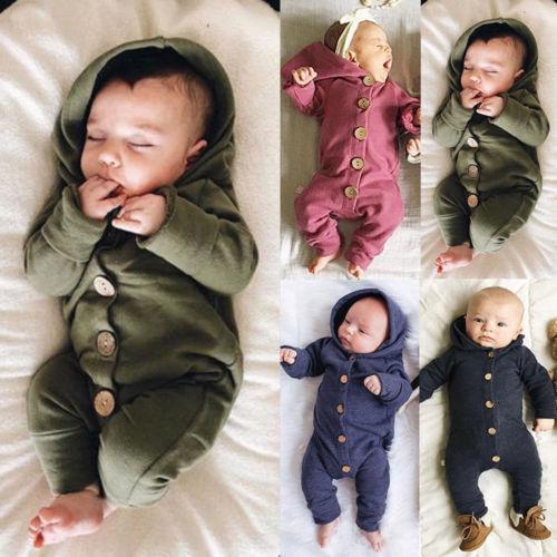 Kleinkind-Baby-Kleidung mit Kapuze langen Hülsen-Knopf boygirl Kind-Baby-Strampler Baumwolloverall neugeborene Baby-Kleidung der beiläufige Ausstattung