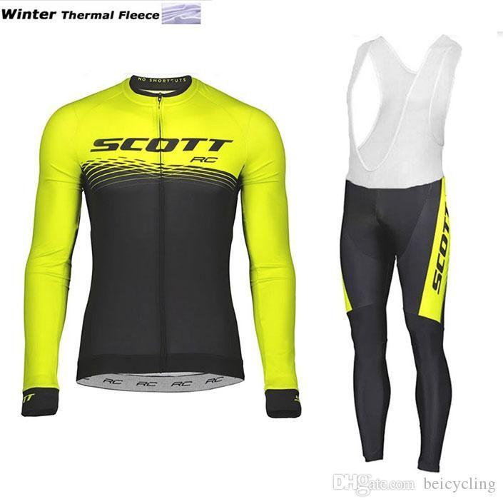 2018 polaire cyclage thermique jersey à manches longues et pantalons de cyclisme vélo Kits Dragonne Ciclismo bicicletas VTT Vêtements de sport B18111001