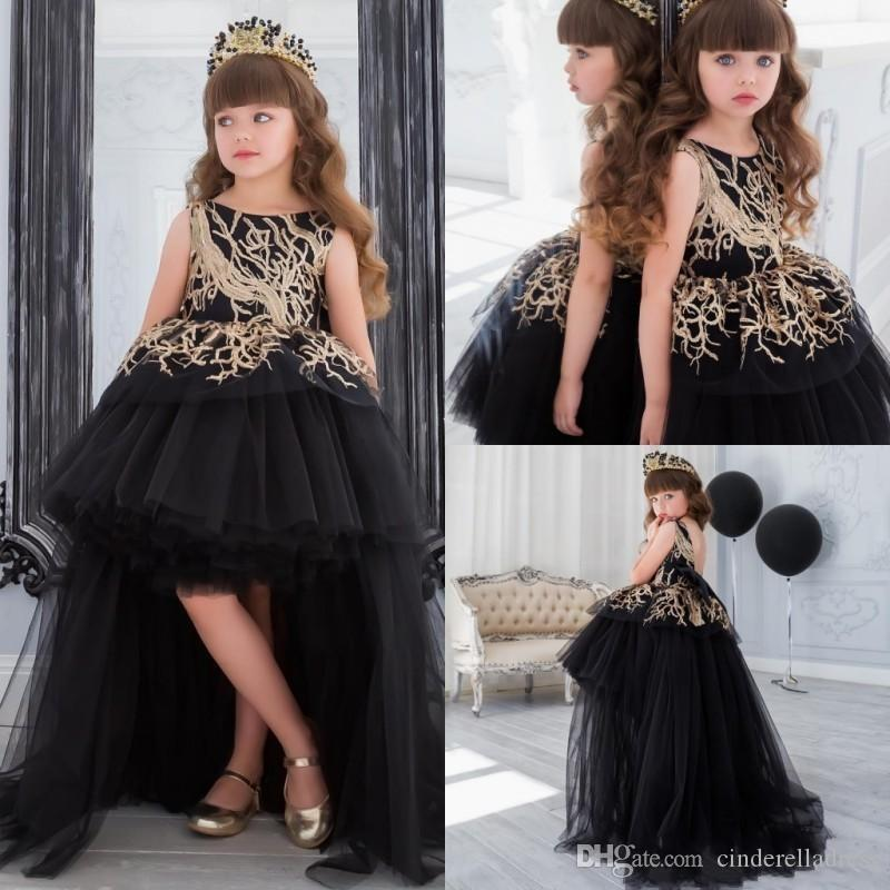 Pretty Gold Sequins Flower Girl Dress With Train Black Ball Gown Hi Lo Little Girls Pagesnt Dress Tiered Formal Gowns For Kids
