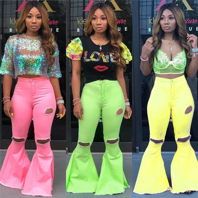 Femmes Big Flare Jeans Pantalons à jambe large Denim Jeans de Bell Bottoms Party Mode Femmes Corsaires Pantalons longs Washed Trou Slim Fit Bas E22704