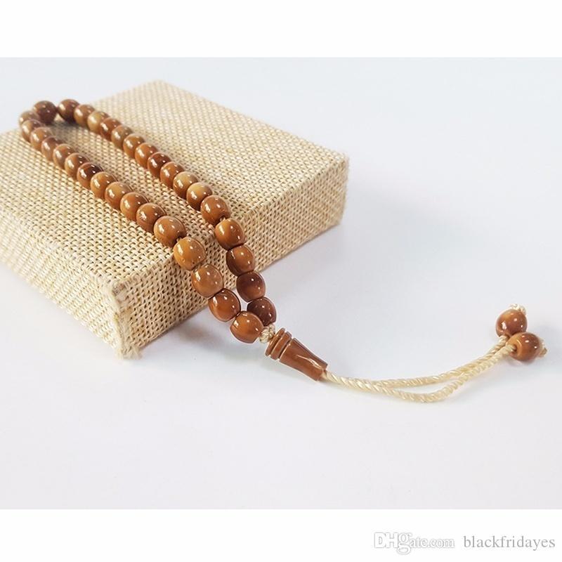 Perline di legno perline di Beadskuka 33 perline di preghiera Islamica musulmana musulmana ISLAMICA TASBIH MOHAMMED Rosario per menhomen Bracciale naturale