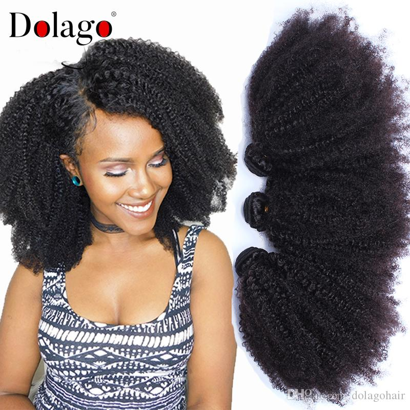 Mongolian Afro Kinky Curly Weave Human Hair Extensions 4b 4c Human Virgin Hair 3 Bundles Natural Black 10 26inch Curly Hair Weave Styles Hair Weaves