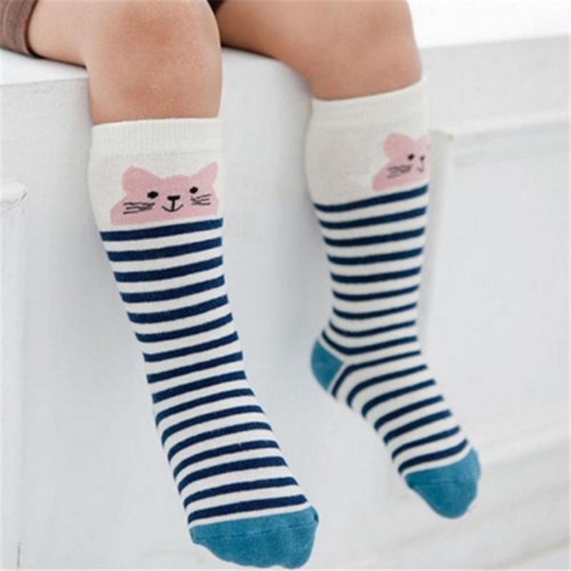 Дети девочка мальчик Животный узор противоскользящие колено высокие носки Детские носки Лиса кошка хлопок милый мультфильм младенческой малыш 0-4Y