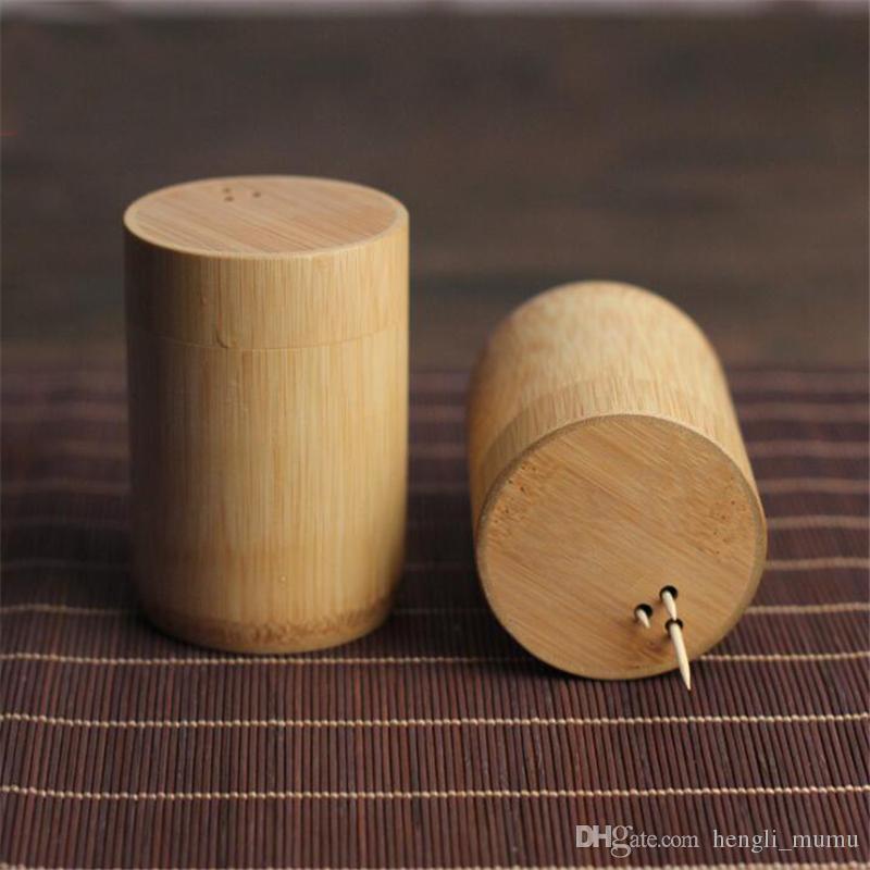 6.2cm Diameter Wood Toothpicks Holder Small Bottles For Cotton Wheels Cotton Buds Case Mini Storage Jar Organizer Home Decor ZJ0126